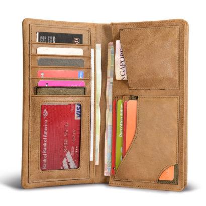 Shenzhou Real Leather Bifold Long Wallet